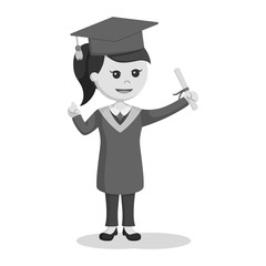 Graduate female student holding diploma black and white style