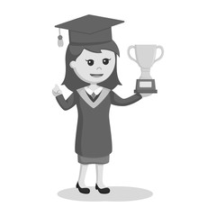 Graduate female student with trophy black and white style