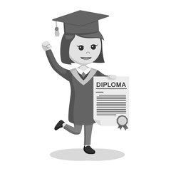 Graduate female student showing her diploma black and white style