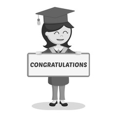 Graduate female student with congratulation sign black and white style