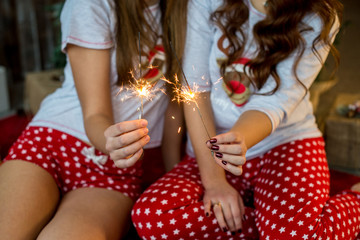 Girls in Christmas pajamas keep Beagle lights in their hands. Hen-party