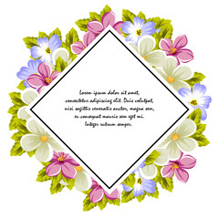 Frame of a few flowers. For design of cards, invitations, greeting for birthday, wedding, party, holiday, celebration, Valentine's day.
