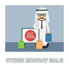 Arab businessman cyber monday sale photo text style