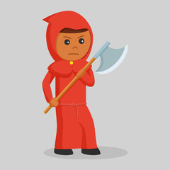 Poster Superheroes African red monk with big axe