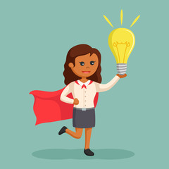 African super office girl with giant bulb