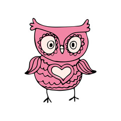 Cute owl,hand drawn mascot