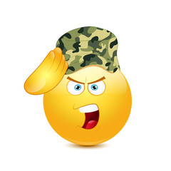 Smiley saluting  in army