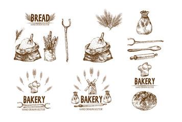 Digital vector detailed line art baked bread