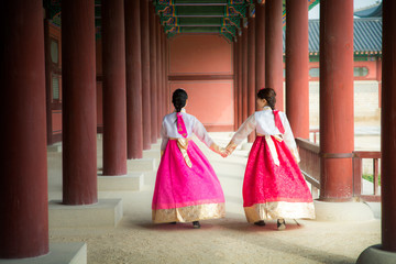 Korean lady in hanbok dress