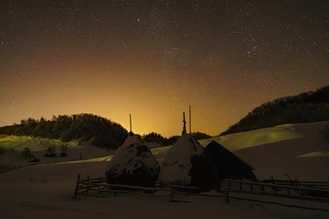 rural landscape with winter night sky