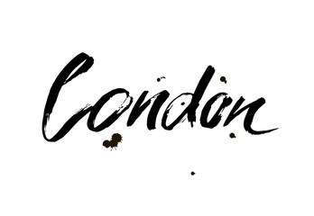 London. Capital of United Kingdom. Ink hand lettering. Modern brush calligraphy. Isolated on white background.