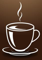Hohe elegante Tasse mit heißem, dampfenden Getränk. Gemalt mit weißen Linien auf braunem Hintergrund.
