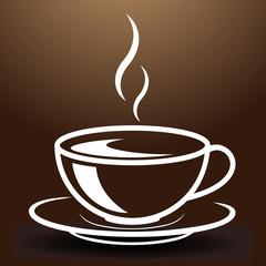 Breite Tasse mit heissem, dampfenden Getränk.  Gemalt mit weißen Linien auf braunem Hintergrund.