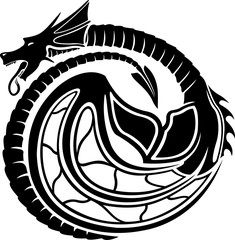 Vector art with stylized black dragon on white background