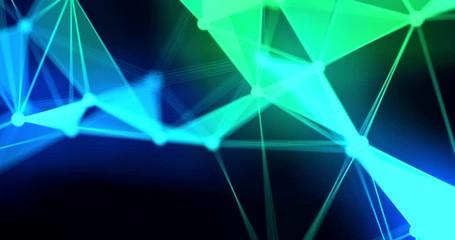 Fotoväggar - abstract blue green geometrical on black background, futuristic plexus fractal effect