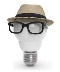 3d Glühbirne mit Hut und Brille