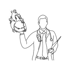 male doctor with uniform and stethoscope on his neck holding a human heart vector illustration outline sketch hand drawn with black lines isolated on white background. Medical concept.