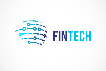 Logo concept for global  fintech and digital finance industry
