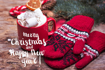 Festive Greeting Card Merry Christmas and Happy New Year