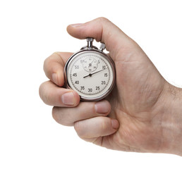 Male's hand holding stopwatch isolated on the white background