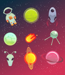 Space elements set. Vector illustration. Design elements