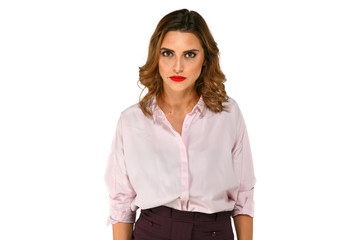 Beautiful business woman with strict, angry, serious, mad face expressions on white background