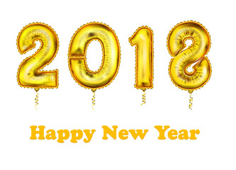 the 2018 New Year Count Symbol Balloon Greeting Card