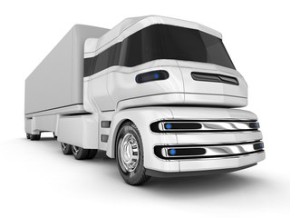 Modern cargo trunk truck, electric car. 3d image.
