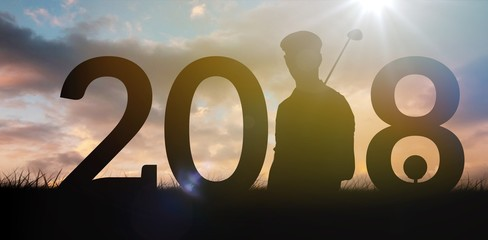 Composite image of golfer standing