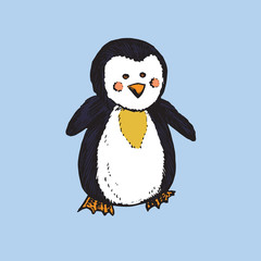 Penguin, hand drawn doodle sketch, isolated vector color illustration