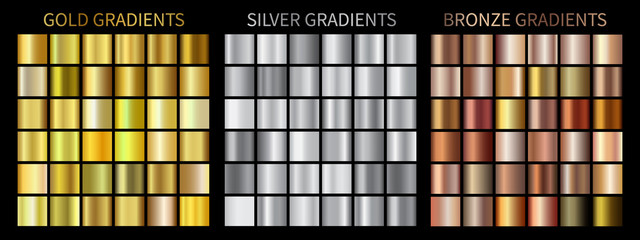 Gold, silver, bronze gradients