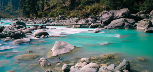 River near aru valley, pehalgham, Kashmir - India