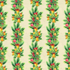 Merry Christmas seamless pattern with garlands. Watercolor Illustration with xmas tree decoration