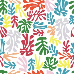 Matisse inspired shapes seamless pattern, colorful design