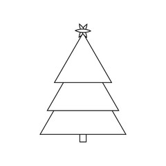 Christmas Tree Outline Icon Symbol Design. Vector illustration of tree silhouette  isolated on white background. Simple shape style. Flat design. Can be use for decoration, gifts, greetings, etc.