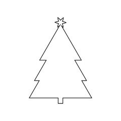 Christmas Tree Outline Icon Symbol D giesign. Vector illustration of tree silhouette  isolated on white background. Simple shape style. Flat design. Can be use for decoration,