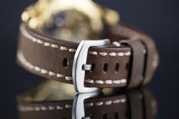 Leather belt on wristwatches