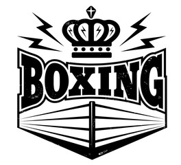 emblem with boxing ring.