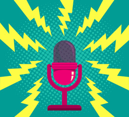 Microphone on blue halftone background