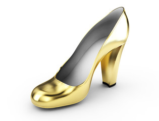 3d render of a golden high heels on white background isolated