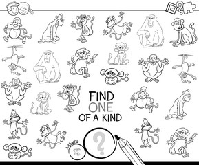 one of a kind game with monkey color book