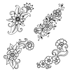 Henna tattoo flower template in Indian style. Ethnic floral paisley - Lotus. Mehndi style. Ornamental pattern in the oriental style.