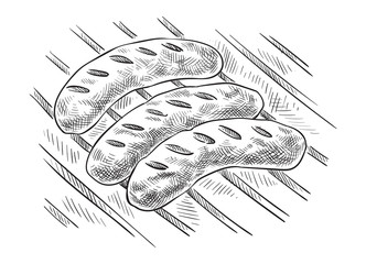 Grilling sausages on barbecue grill. Vector illustration