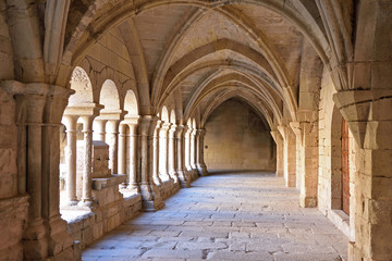 Cloister of the monastery of Vallbona de les Monges, Lleida province, Catalonia, Spain Wall mural