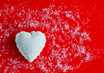 Top view of red background with valentine's day idea. Love concept.