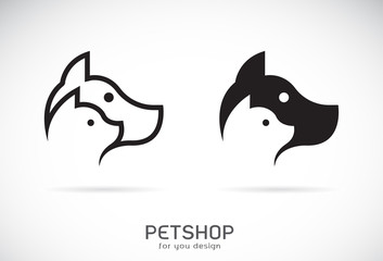 Vector of a dog and cat design on white background. Petshop. Animal Icon.