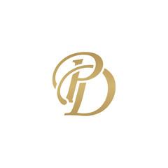 Initial letter PD, overlapping elegant monogram logo, luxury golden color