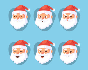 Christmas Santa Claus head emotion faces vector expression character poses illustration emojji Xmas man in red traditional costume and Santa hat