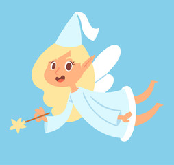 Fairy cute vector girl princess character adorable beauty fairy-tale angel with wings and magic wand fly illustration