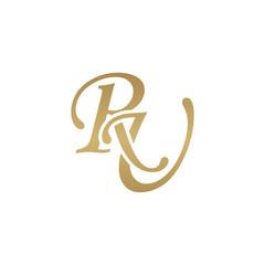Initial letter RU, overlapping elegant monogram logo, luxury golden color